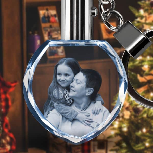 Customized Heart Photo Crystal Glass KeyChain   Renwick Crystal