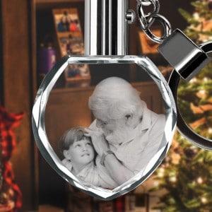 Customized Heart Photo Crystal Glass KeyChain Renwick Crystal