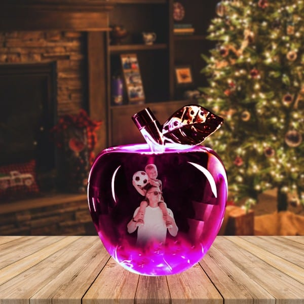 Customized Photo Engraved Apple Crystal   Renwick Crystal