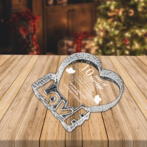 Personalized Photo Crystal Heart in Shape of Love   Renwick Crystal