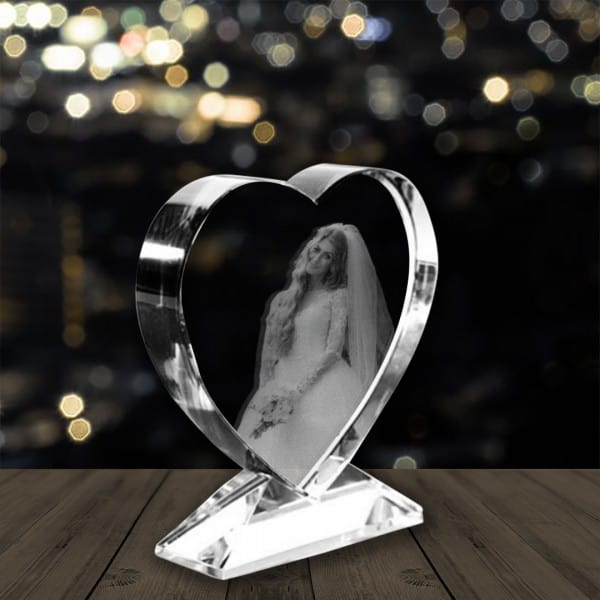 Custom Photo Engraved Crystal Heart Renwick Crystal