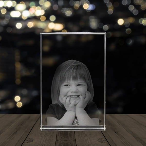 Customized Photo Crystal Block - Glass Engraved Pictures Renwick Crystal