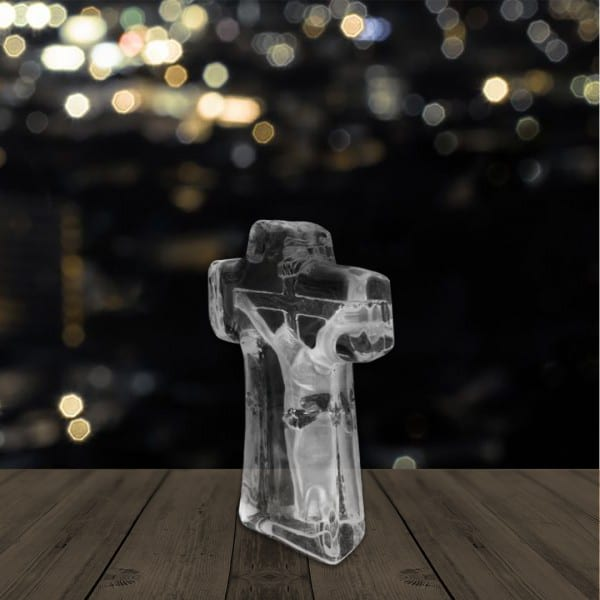 Jesus Cross Engraved Crystal Renwick Crystal