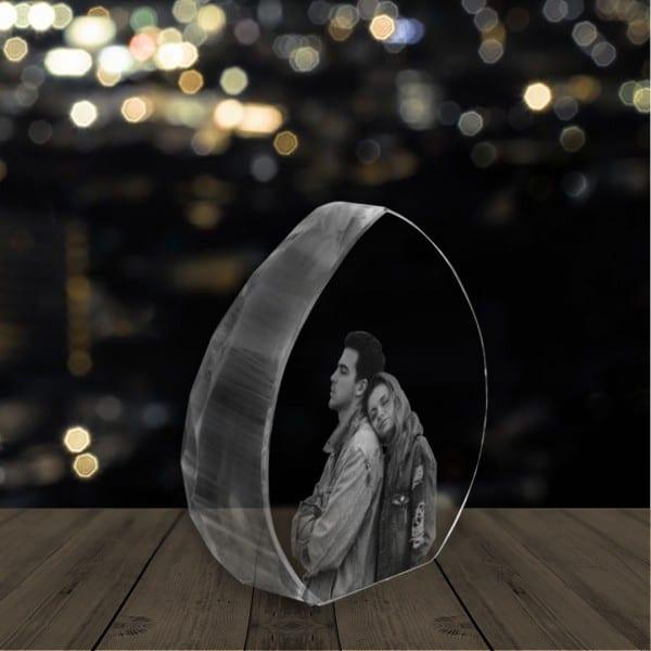 Customized Engraved Crystal – Heart Shape   Renwick Crystal