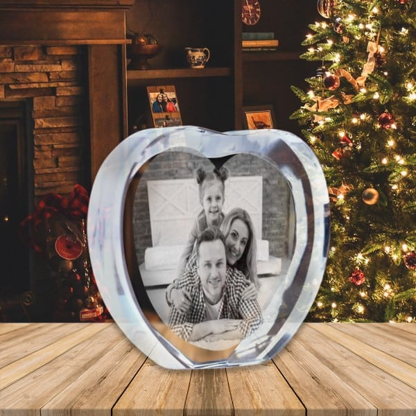 Customized Heart Shaped Crystal Photo Frame Renwick Crystal