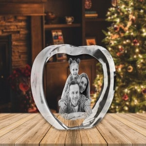 Customized Heart Shaped Crystal Photo Frame Renwick Crystal