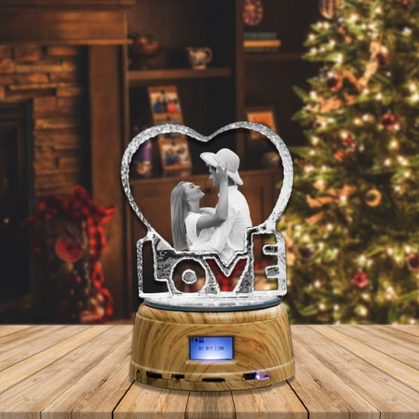Customized Photo Crystal Heart Shaped With LED Base And Bluetooth Music   Renwick Crystal