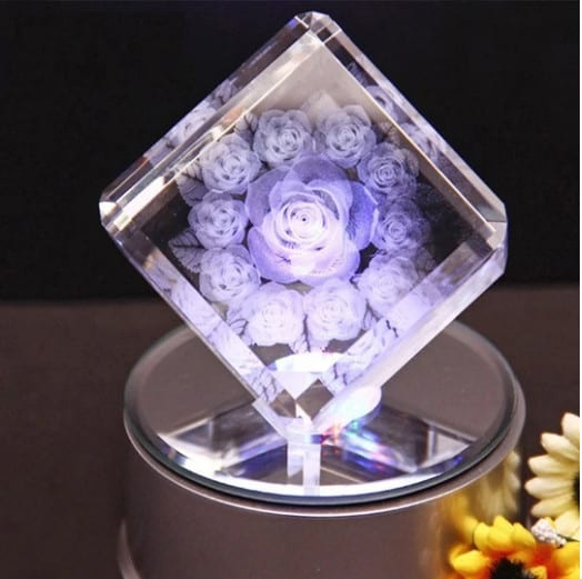 3D Engraved 11 Roses Crystal Cube with LED Base Renwick Crystal