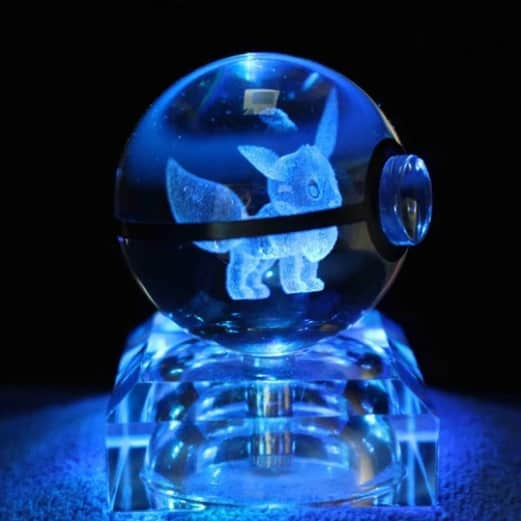 Eevee Pokemon 3D LED Crystal Ball Renwick Crystal