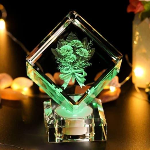 3D Rose Engraved Crystal Cube Renwick Crystal