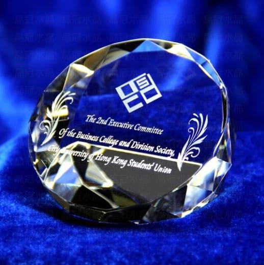 Customized Diamond Shape Crystal Trophy / Ornament Renwick Crystal