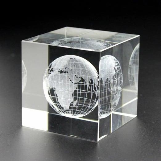 3D Engraved Earth Crystal Cube Renwick Crystal