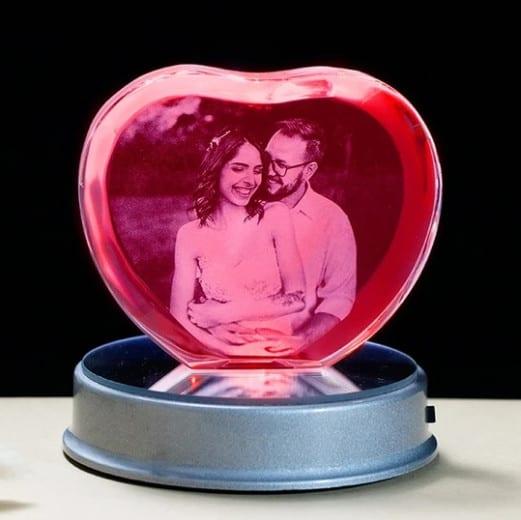 Heart-Shaped Customized Photo Crystal With LED Base Renwick Crystal