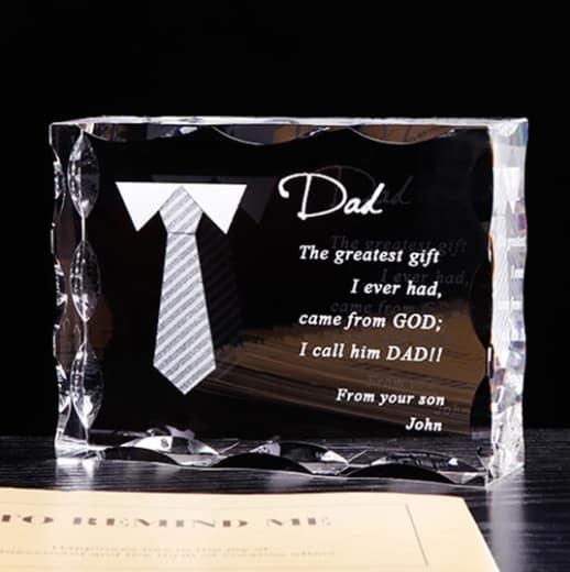 Personalized Dad Letter Crystal Frame Renwick Crystal