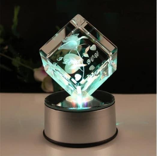3D Laser Engraved Green Rose Crystal Cube Renwick Crystal