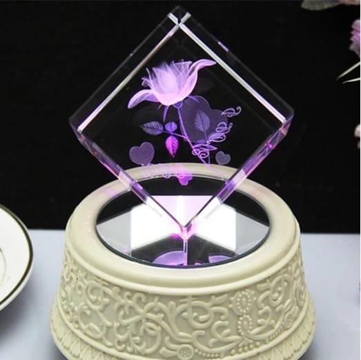3D Purple Rose Crystal Renwick Crystal
