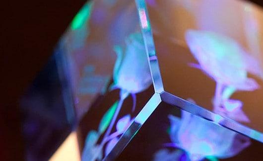 3D Blue Rose Crystal Cube Renwick Crystal