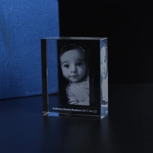 Customized Engraved Baby Picture Baptism Crystal Renwick Crystal