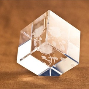 Colorful LED 3D Rose Crystal Cube With Bluetooth Music Renwick Crystal