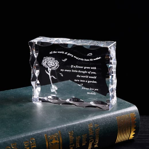 Personalized Mom Letter Crystal Frame Renwick Crystal