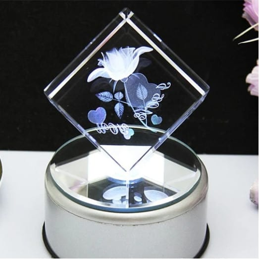 3D LASER ENGRAVED ROSE WHITE CRYSTAL Renwick Crystal