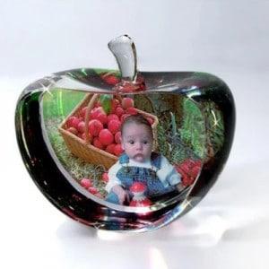Customized Apple Heart Photo Crystal Renwick Crystal
