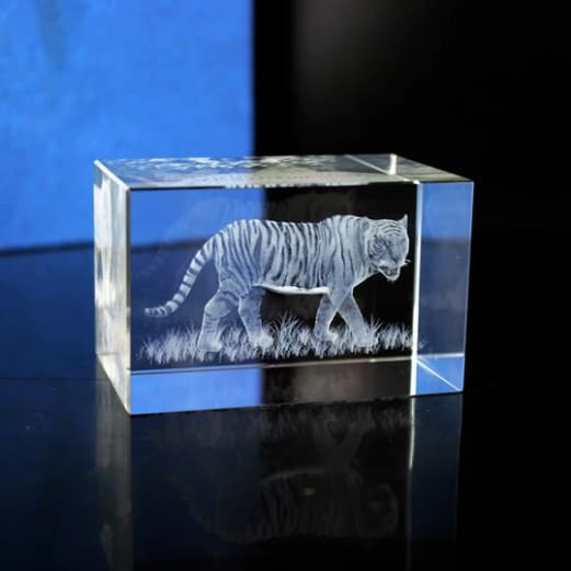 3D Tiger Engraved Crystal Block Renwick Crystal